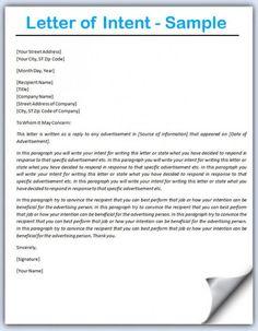 Letter Of Intent Format HttpWwwLetterOfIntentOrgWhat
