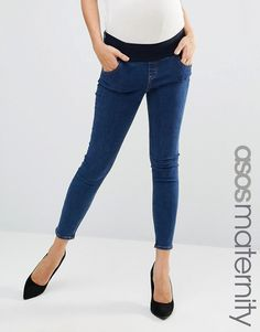 ASOS Maternity Ridley Skinny Jeans In Kelsey Flat Wash Blue