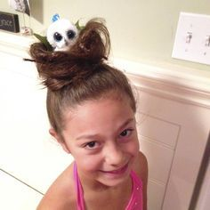 Crazy hair day bird nest with beanie boo owl in it! so easy and so cute