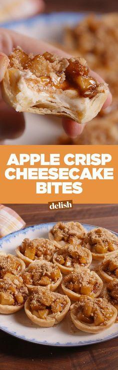 Apple crisp cheesecake bites won't last long on your Thanksgiving dessert table. Get the recipe on Delish.com.