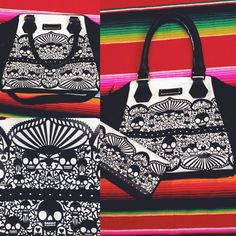 Loving the new print on this tote and wallet! #blamebetty #skulls #lace