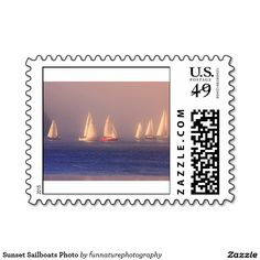 SOLD 2 sheets Sunset Sailboats Photo Postage Stamps by http:/www.zazzle.com/funnaturephotography*
