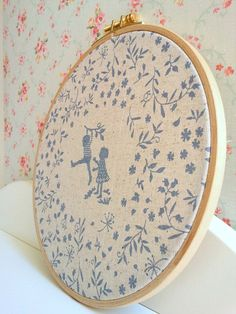"Embroidery Hoop Wall Art ""Happy Childhood"""