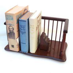 Vintage Wooden Book Rack Desk Top Storage Organizer by WhimzyThyme #vintage #bookend #organizer #desk