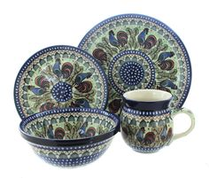 Rooster Row 4 Piece Dinner Set - Blue Rose Polish Pottery