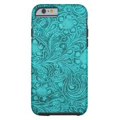 Blue-Green Suede Leather Look Retro Floral Design Tough iPhone 6 Case Artwork designed by artOnWear. Made by Case-Mate in Norcross, GA