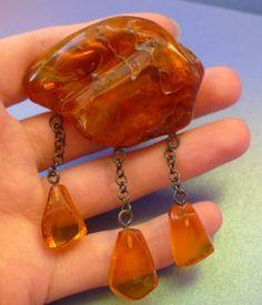 Vintage Latvian USSR jewelry Honey Cognac Natural Baltic Amber gem Brooch 29 g