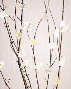 leaf seating cards - What if we did this for the seating tables? We could have a table when they walk in. The branches don't need to be painted but we could have the names taped onto the different branches for different tables. Then they grab their name and find their table.