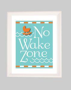 Nautical Nursery, No Wake Zone, The Original No Wake Zone, Art for Nursery, Baby Nursery Art, Kids Art,Beach Nursery, Sailboat Nursery. $18.00, via Etsy.