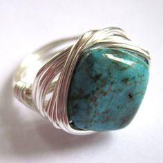 Silver Wire Wrapped Ring Turquoise Blue by gimmethatthing on Etsy, £9.50