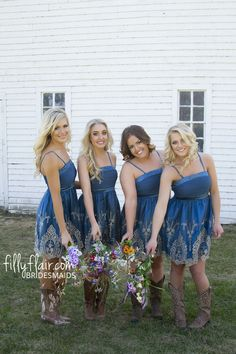 Need this bridesmaid dress with the boots for a country wedding!