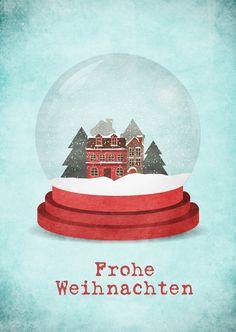 Kristallkugel | Frohe Weihnachten | Echte Postkarten online versenden…