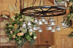 Wagon Wheel Home Decor | Wagon wheels and mason jars