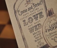 Vintage Apothecary Wedding Invite by 'Satin and Tat Wedding Stationery'