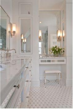White bathroom. Love this floor!