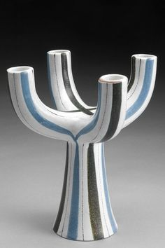 Stig Lindberg; Tin-Glazed Ceramic Candelstick for Gustavsberg, 1950s.