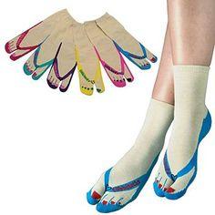 3ad7642de3e37 Flip Flop Toe Socks 1 Pair - Casual Playful Assorted Novelty Footwear  Apparel from Tabbisocks