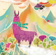 """Mountain Llama "" Graphic/Illustration by Migy Ornia-BLanco posters, art prints, canvas prints, greeting cards or gallery prints. Find more Graphic/Illustration art prints and posters in the ARTFLA. Art And Illustration, Alpacas, Framed Wall Art, Wall Art Prints, Framed Prints, Canvas Prints, Llama Arts, Gato Gif, Llama Alpaca"