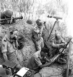 "Members of the FOP (Forward Observation Post) of the ""B"" Battery, 1st Field Regiment, RCA near Potenza, Italy. Sept 1943."