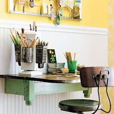 Create space by trimming a cumbersome old table down to a tidy console.