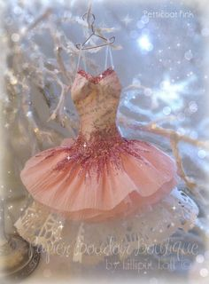 'Petticoat Pink' miniature papier maché, crepe paper and paper doily dress
