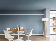 Contemporary living and dining room painted in Denim Drift, Borrowed Blue, Earl Blue and Sash Blue Dulux paint