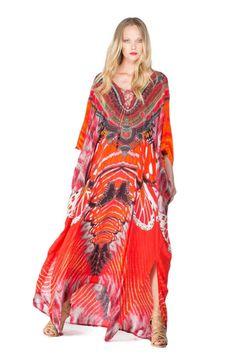 Shop Shahida Parides Avatar Red Infinity Long Kaftan. Wear it 3 different ways. Shop the collection at Paula & Chlo.