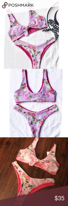 New Pink Floral Knotted Brazilian Bikini Set New wo tags. Beautiful pink color. Floral rose design. Knot tie top with Brazilian bottoms. Really nice quality w lots of stretch. First pics are more accurate color wise. The last two have flash on them. Marked as large but bottoms would fit size 5-7 or medium best. Possibly a size 3 if you have a bigger booty. The top is pretty open w lots of stretch so I would say it can fit almost every size. NO TRADES. Offers are welcome. No low balling…