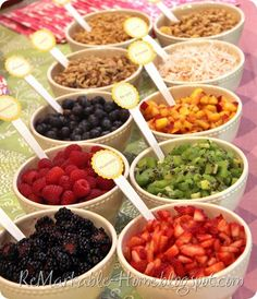 For parties- yogurt parfait bar.: several types of fruit and yogurt, as well as granola, nuts, and coconut to mix in. jams and lemon curd to flavor the plain yogurt.