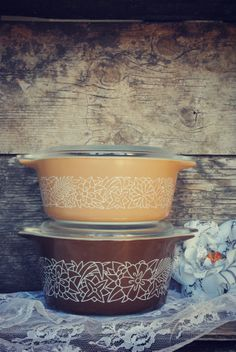 Brown Pyrex Woodland Collection by JunkLoveandCo on Etsy, $27.00 Pyrex collection