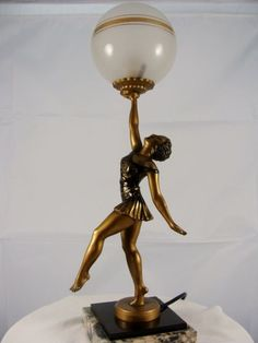 French Art Deco Lamp, signed by L. Bruns, c. 1920