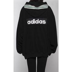 Vintage Adidas Hooded Fleece Sweatshirt ($44) ❤ liked on Polyvore featuring tops, hoodies, zip up hoodies, zip up top, hooded top, vintage hoodies and fleece hoodies