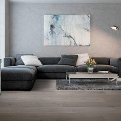 divano angolare in tessuto grigio con piano d'appoggio e libreria ... - Angolo Chaise Whistler Grigio