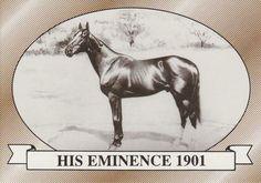 His Eminence. 1901 Kentucky Derby winner. Jockey: Jimmy Winkfield. Winning time: 2:07 3/4