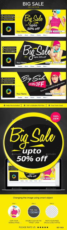 Big Sale Facebook Covers - 3 Designs Template PSD #design Download: http://graphicriver.net/item/big-sale-facebook-covers-3-designs/14310114?ref=ksioks