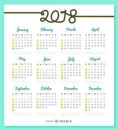 Delicado Diseno Del Calendario 2018