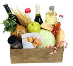 Box with products isolated on white