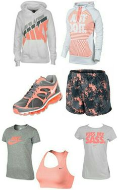 Women's gray peach nike outfit