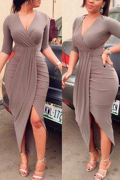 Casual Long Dress V neck Pleating Body Dress Stylish Dresses, Sexy Dresses, Cute Dresses, Fashion Dresses, Party Dresses, Mode Outfits, Dress Outfits, V Neck Dress, The Dress