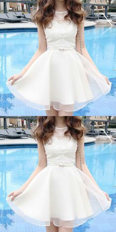 A-Line Bateau Short Open Back White Organza Homecoming Dress with Lace