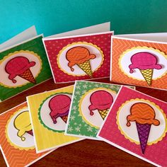 "A set of 3"" x 3"" gift cards created with the CTMH Taste of Summer Paper Packet and the June 2015 Stamp of the Month- Ice Cream Dream.  Created by Denise Tarlinton http://scrapstampshare.blogspot.com.au"