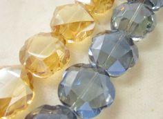Cristal cortado Mod.0022.3x2 Tira c/  11 $150,00 Ambar, Azul.