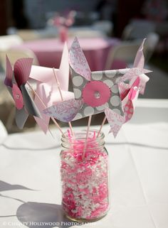 Mason Jar Pin Wheel Pink and Gray Centerpiece. 30th Party, Birthday Bash, First Birthday Parties, Girl Birthday, First Birthdays, Elephant Party, Baby Elephant, Sprinkle Shower, Simple Centerpieces