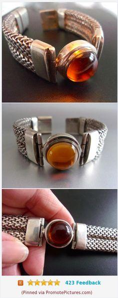 Amber Mesh Sterling Silver Bracelet, Cabochon, Thick Weave, Vintage #bracelet #sterlingsilver #mesh #amber #cabochon #thick #vintage https://www.etsy.com/RenaissanceFair/listing/558648918/amber-mesh-sterling-silver-bracelet?ref=listings_manager_grid  (Pinned using https://PromotePictures.com)