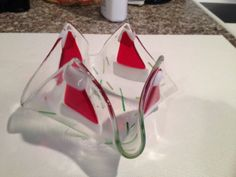 Fused glass Santa hat candle holder by fusedglassbyjemima on Etsy, $15.00
