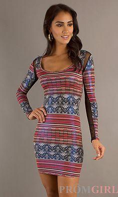 Short Print Long Sleeve Dress at PromGirl.com
