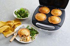 Pie maker chicken, mushroom and bacon pies - Pastry Mac And Cheese Muffins, Bacon Pie, Just Pies, Beef Pies, Tomato Chutney, Flaky Pastry, Mushroom Chicken, Mushroom Pie, Pie Recipes