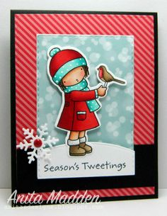 Card by Anita Madden  (120715)  [(dies) My Favorite Things Die-Namics Season's Tweetings; Your Next StampSpring/Summer Scene, Stitched Rectangle, Winter Fun Tag; (stamps) My Favorite Things Pure Innocence Season's Tweetings]