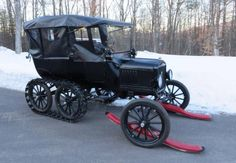 1919 Ford Model T five passenger touring snowmobile...note the real wheel tracks....