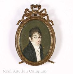 "Continental School, 19th c., ""Portrait of a Gentleman"", miniature watercolor on ivory, signed ""Guyold G"""